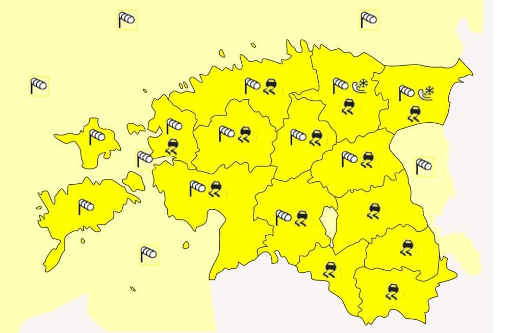 Ilmateenistus hoiatab: tuul tõuseb, sajab jäävihma ja pinnad jäätuvad