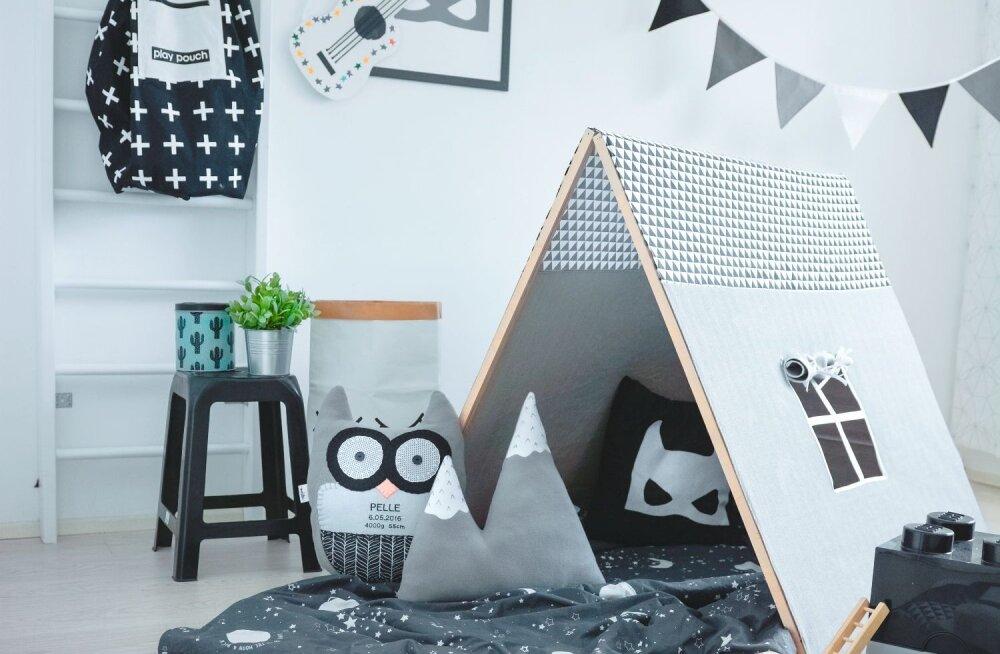 Tänase vihmase ilma jaoks sobiv meelelahutus: ehita lastele tuppa lahe kokkupandav telk