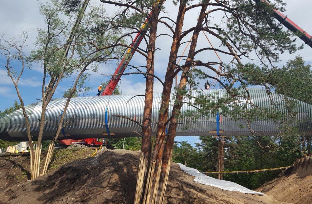 ФОТО: В Нымме установлен большой лыжный тоннель за полмиллиона евро