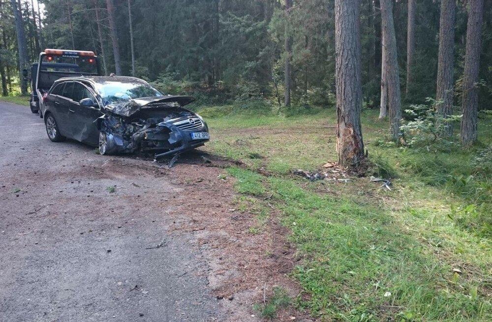 Valklas sõideti autoga vastu puud