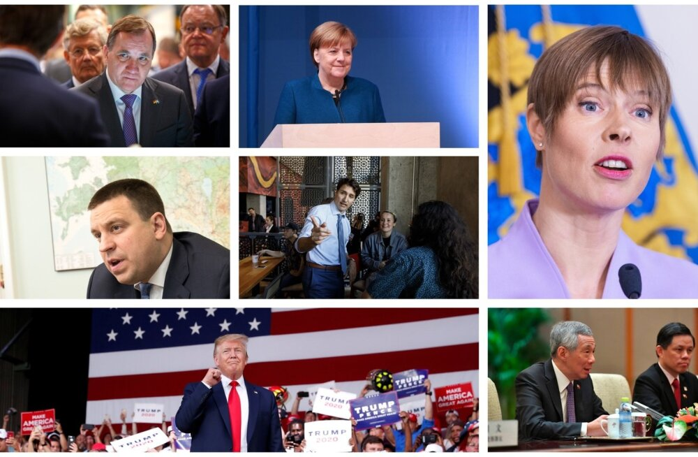 Vasakult ülevalt: Stefan Löfven, Angela Merkel, Kersti Kaljulaid, Jüri Ratas, Justin Trudeau, Donald Trump, Lee Hsien Loong