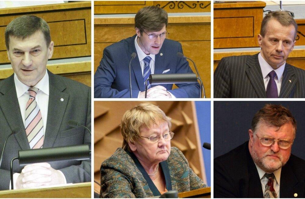 Andrus Ansip, Martin Helme, Jürgen Ligi, Ene Ergma ja Janno Reiljan