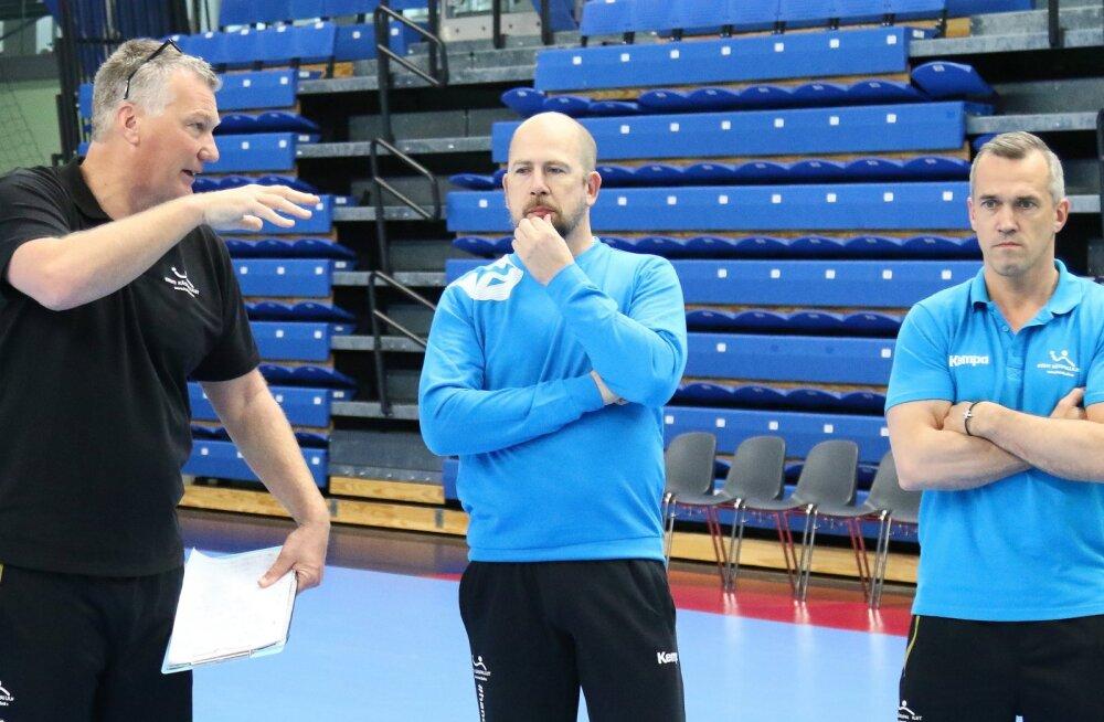 Eesti rahvuskoondise treeneritekolmik Thomas Sivertsson, Janne Ekman ja Martin Noodla.