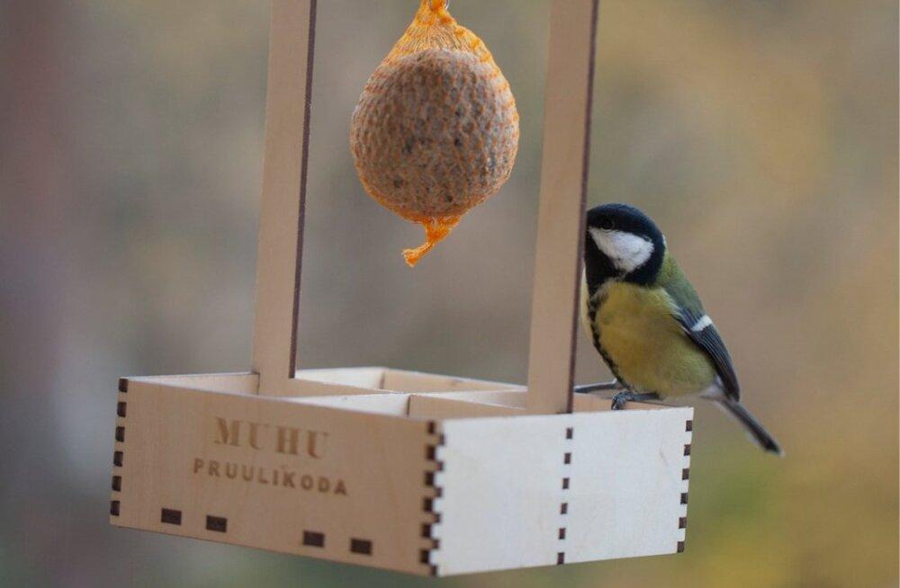 Muhu pruulikoja õllepakend, mis on kasutatav ka lindude söögimajana