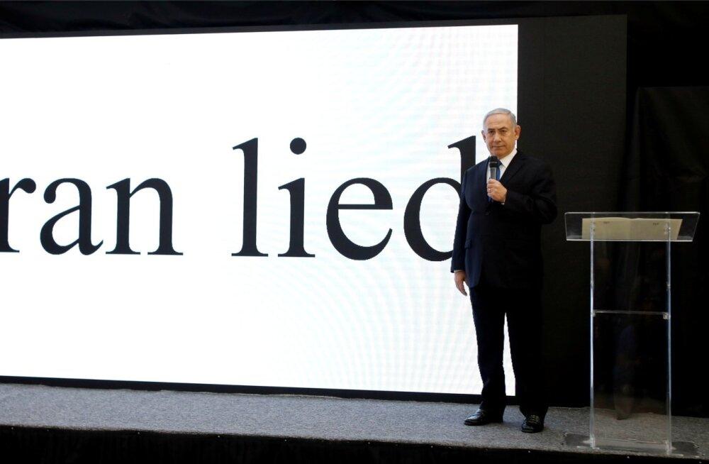 Iisraeli peaminister Benjamin Netanyahu esitab Tel Avivis oma sõnumit.