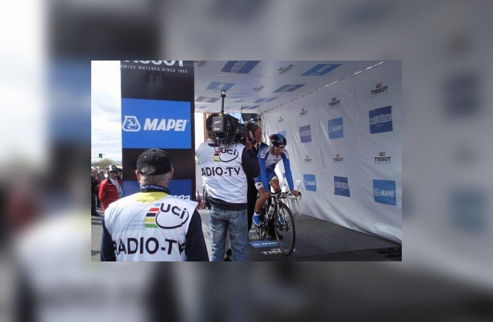 Tanel Kangert maailmameistrivõistluste stardis, jalgratas
