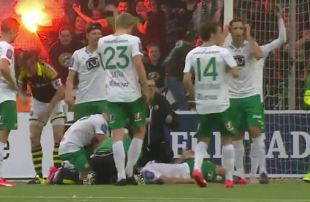 VIDEO: Rootsi jalgpallur sai hirmuäratava peatrauma. Kardeti kõige hullemat