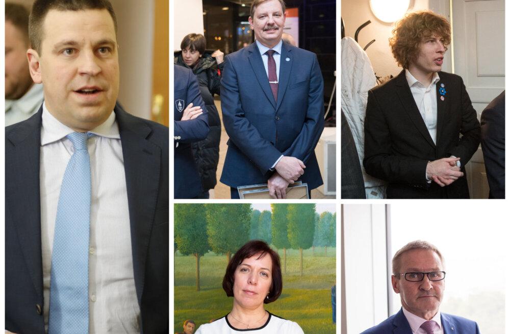 Keskerakonna ministrid on Jüri Ratas, Taavi Aas, Tanel Kiik, Mailis Reps ja Jaak Aab