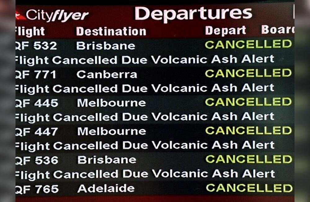 Tuhapilv sulges Adelaide'i ning häirib Canberra ja Sydney lennuvälju