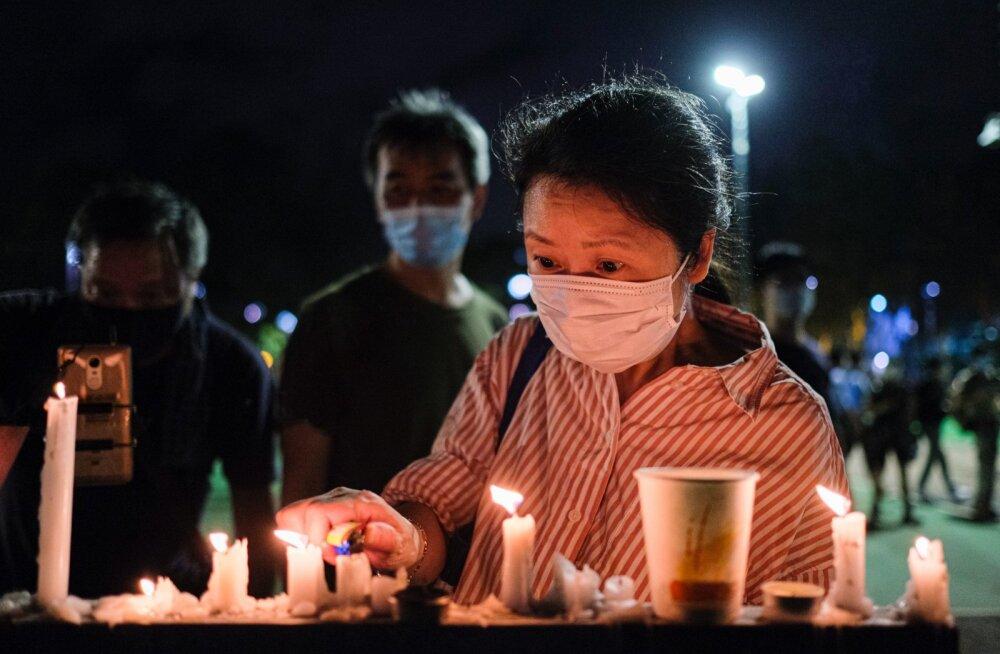 Tiananmen meeleavalduste ohvrite mälestusküünlad Hongkongis.