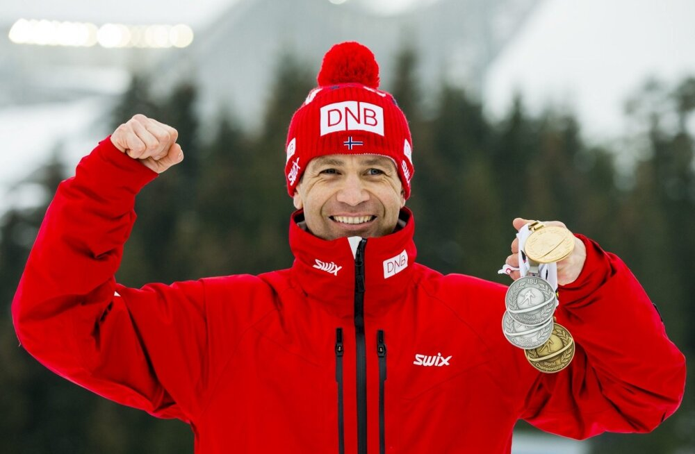 Ole Einar Bjørndalen ning tema 41., 42., 43. ja 44. MM-medal