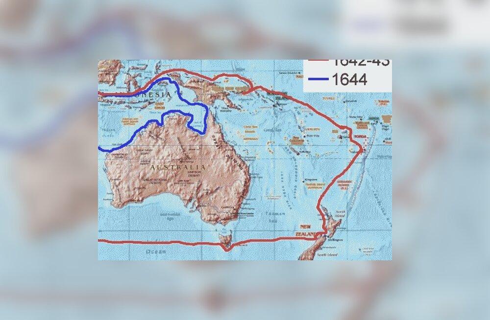 Abel Tasmani ekspeditsioonid. Kaart: Andre Engels