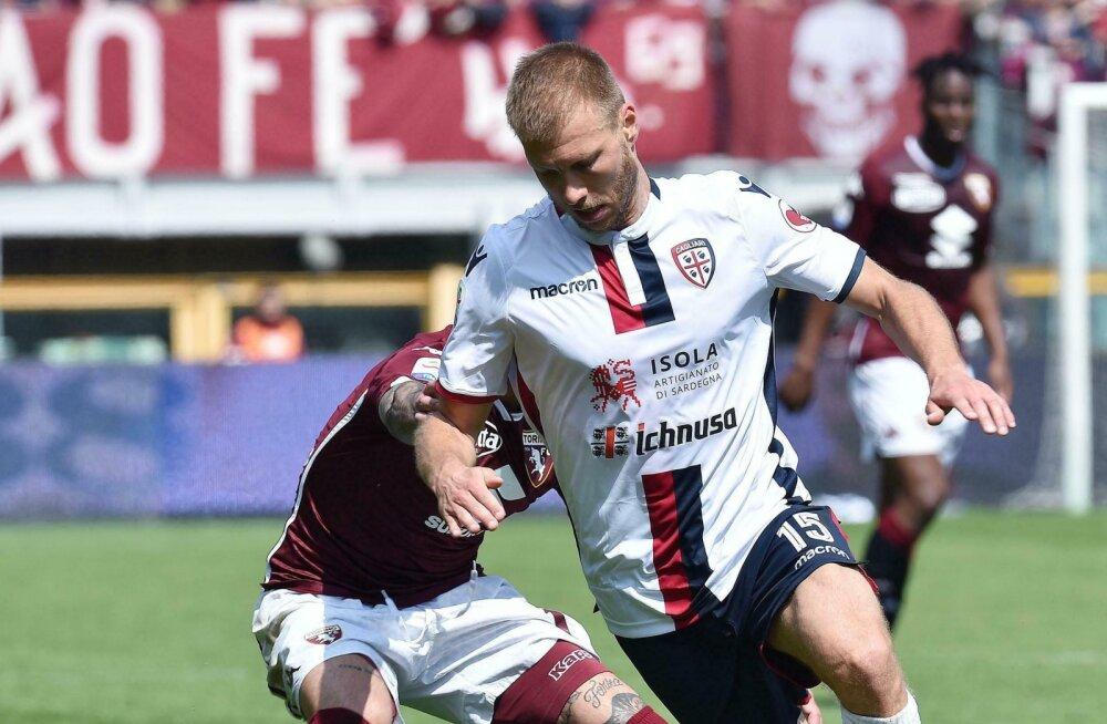 Klavan naasis vigastuspausilt ning Cagliari viigistas Torinoga, kolm mängijat eemaldati