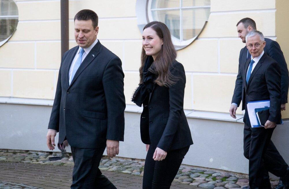 Soome uus valitsusjuht Sanna Marin (keskel) käis hiljuti ka Eestis visiidil, kohtudes muuhulga peaminister Jüri Ratasega.