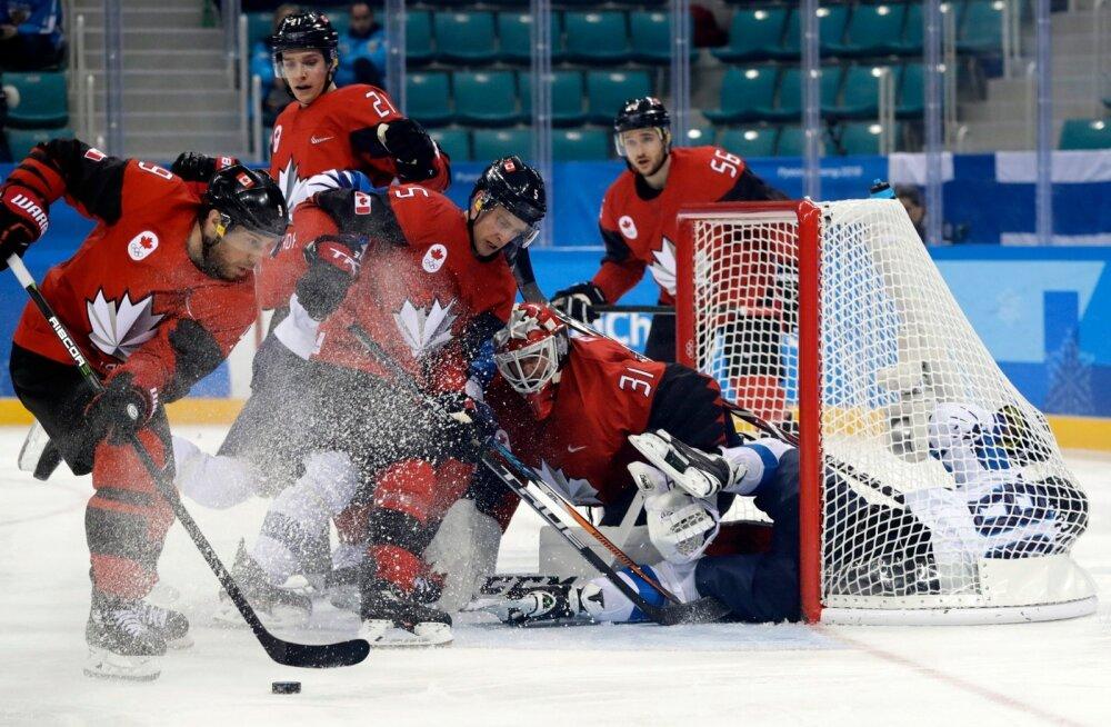 Soome mängijaid lendas Kanada väravasse tükki kolm, litreid paraku ainsatki.