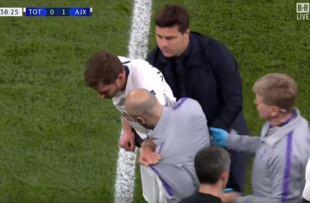 VIDEO | Andestamatu eksimus Tottenhami arstidelt: peapõrutusega väljakule tagasi lubatud mängija lahkus platsilt tuikudes ja öökides