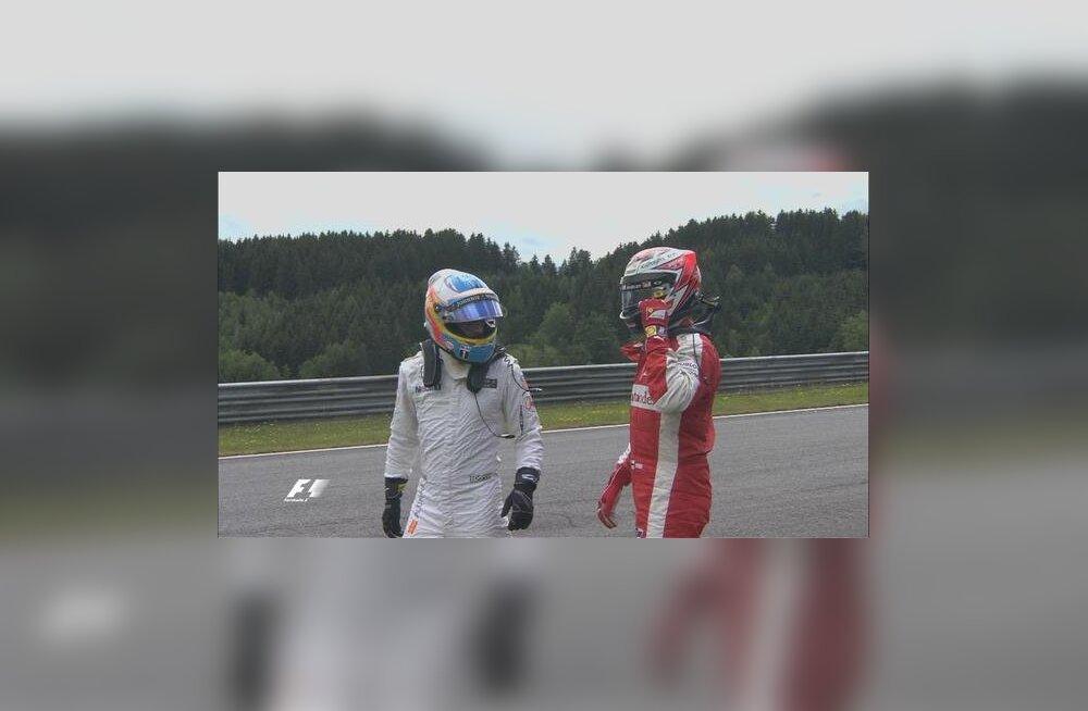 Alonso ja Räikkönen avarii järel