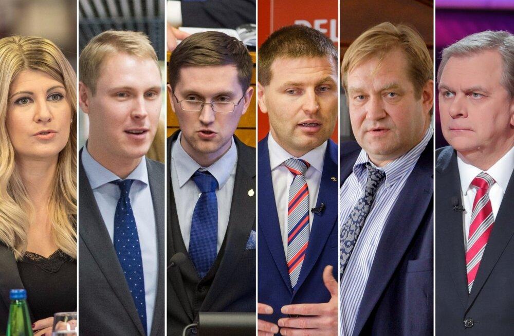Viktoria Ladõnskaja, Raimond Kaljulaid, Jaak Madison, Hanno Pevkur, Ivari Padar ja Andres Herkel