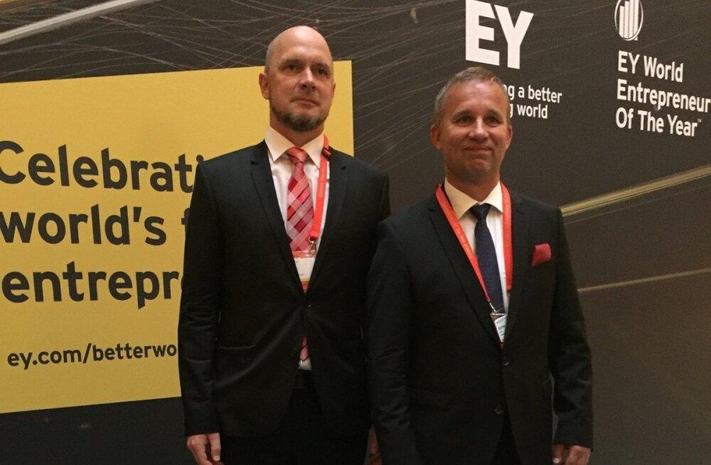 EY Eesti Aasta Ettevõtja 2017 võitjad  Arno Kütt ja Peep Kuld Monacos.
