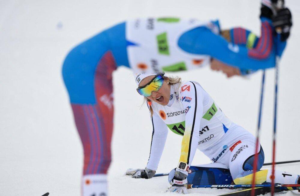 Kannataja ja patune. Stina Nilsson (pikali) paiskas sprindi poolfinaalis Natalja Matvejeva pikali. Süüdi jäi Matvejeva, sest ta oli kunagi tarvitanud EPO-t. Pealegisai venelanna sprinditeates hõbeda, Rootsi jäi medalist ilma.