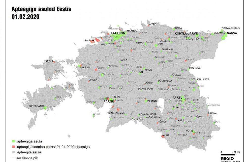 KAART | Need 35 väiksemat piirkonda võivad jääda kahe kuu pärast apteegita