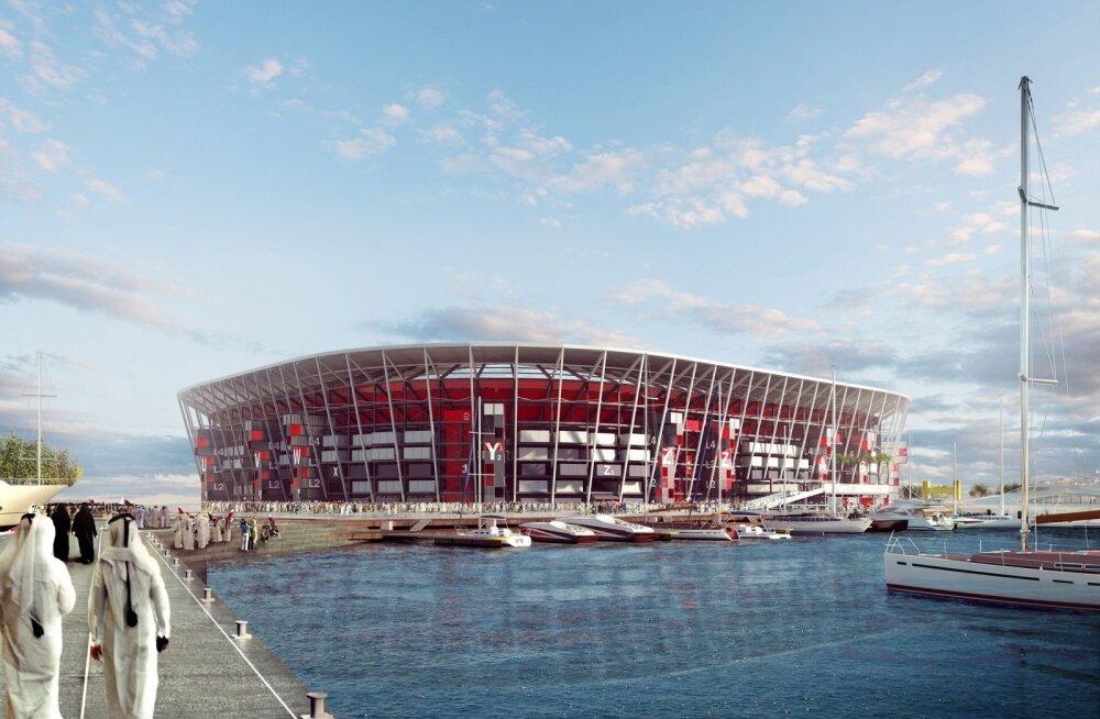 FOTOD | Selline näeb välja jalgpalli MM-i ajaloo esimene teisaldatav staadion
