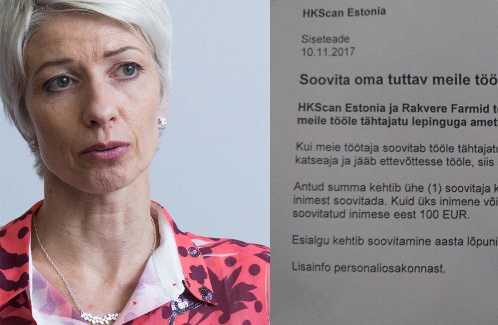 HKScan proovib värbamisel kõiki nippe: töötaja soovitajale 100 eurot puhtalt kätte!