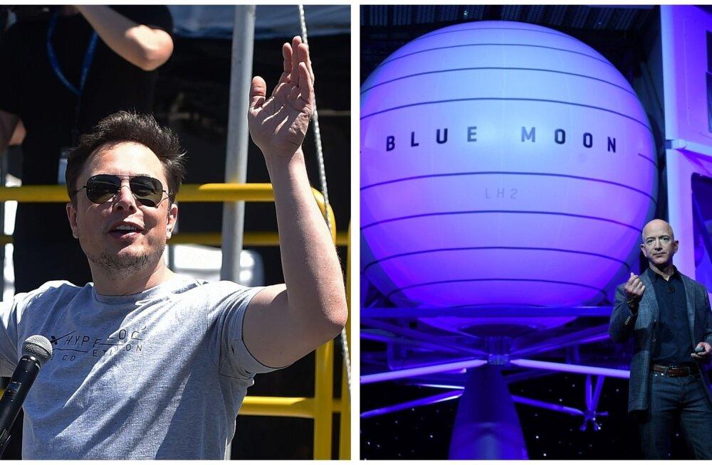 Elon Musk (vasakul) ja Jeff Bezos peavad võidujooksu kosmosele.