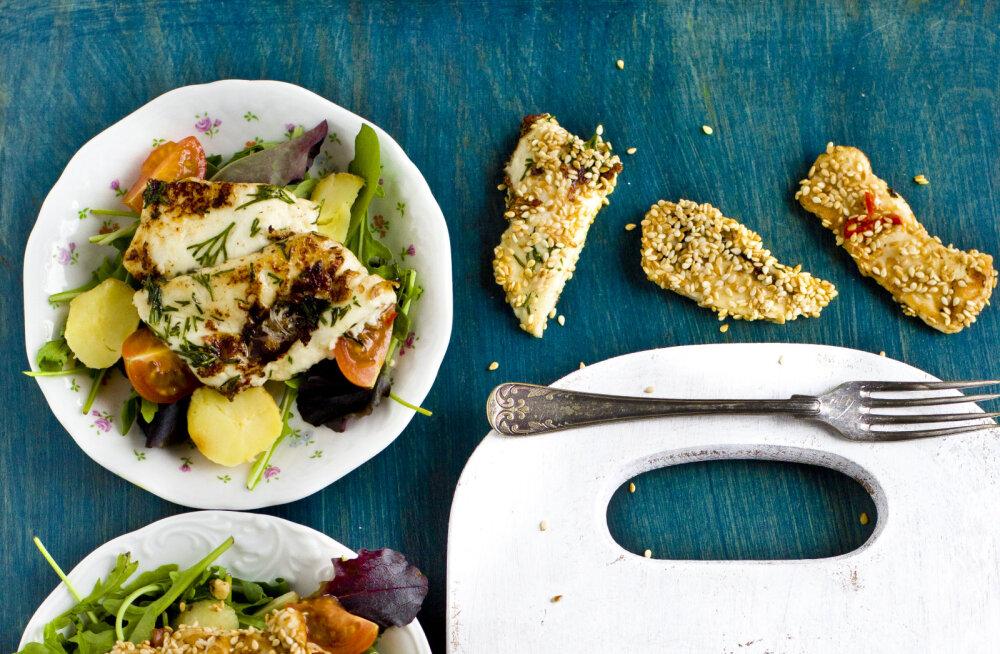 Grilli kõrvale — suus sulavad grilljuustusalatid