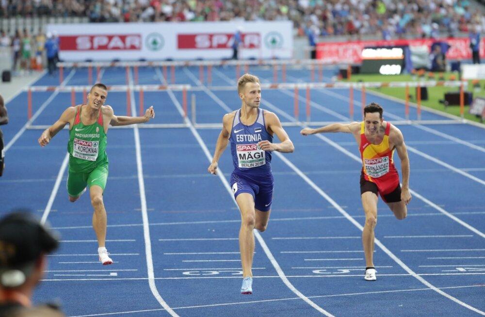 Rasmus Mägi on oma jooksu võitjana finišis.