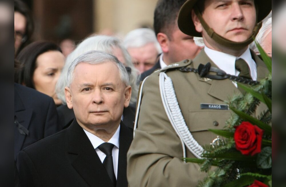 Polish President Lech Kaczynski's brother Jaroslaw at the funeral service for the president and his wife, Maria.