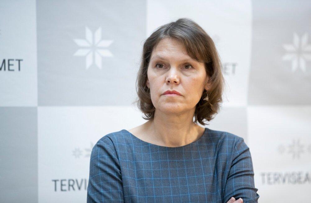 Pressikonverents Terviseametis. Pildil Terviseameti peadirektor Merike Jürilo.