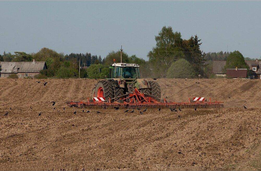 Traktor kultiveerib põldu