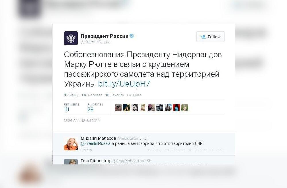 Kreml väljendas Twitteris kaastunnet Hollandi... presidendile