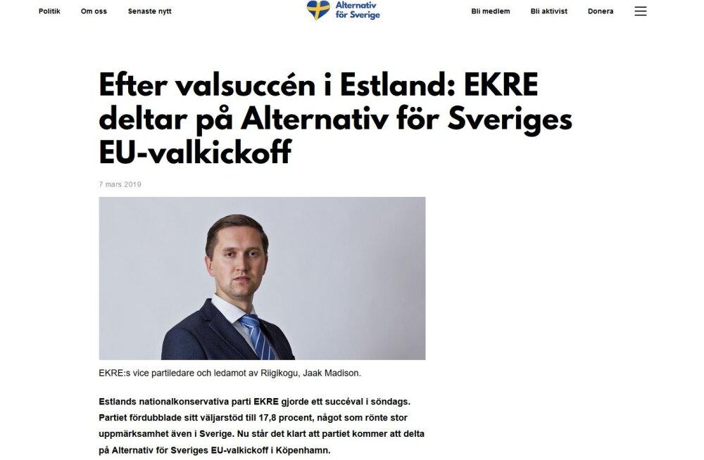 Jaak Madison osaleb Rootsi paremäärmusliku erakonna valimiskampaania avaüritusel