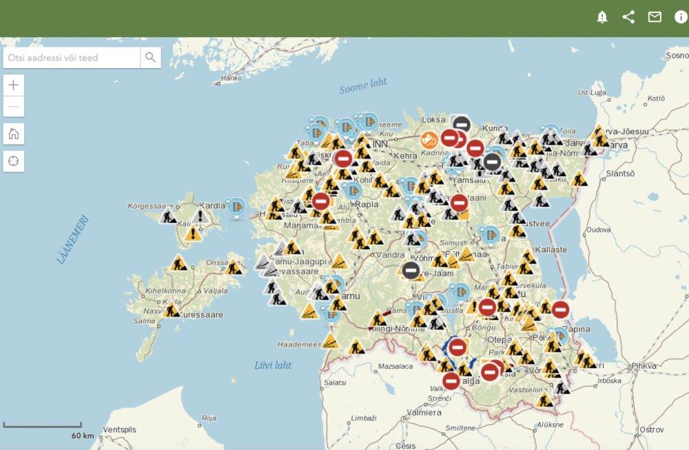 Maanteeamet on juba üle seitsme aasta pakkunud portaali Tark Tee vahendusel liiklejatele infot liikluspiirangute, teetööde ja teeolude kohta.
