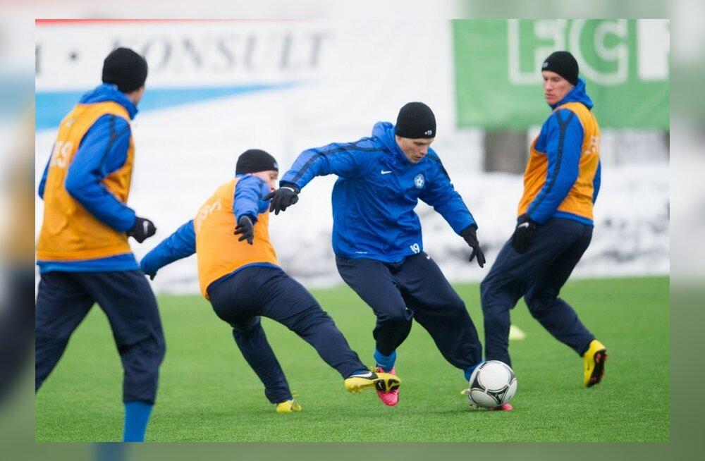 Eesti jalgpallikoondise treening Lilleküla staadionil