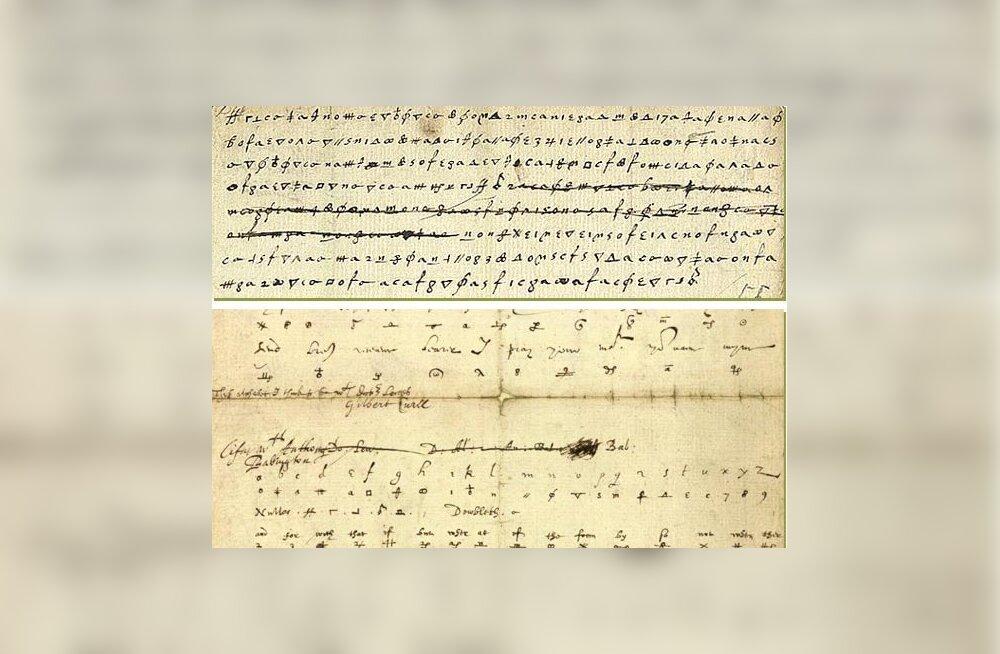 Koopia Babingtonile vastu saadetud kirjast ja katsetest seda dešifreerida.