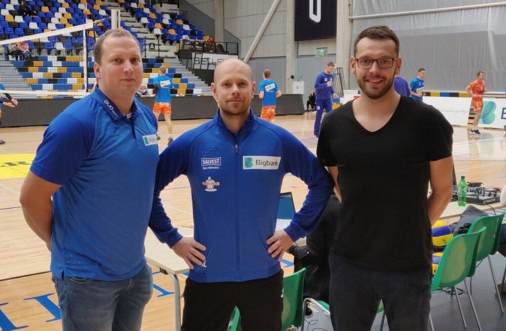 Hendrik Rikand, Karl Rinaldo ja Alar Rikberg Tartu Ülikooli spordihoones.
