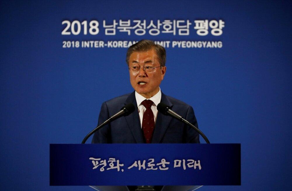 Lõuna-Korea presidendi sõnul soovivad tema ja Kim Jong-un Korea sõja lõpetavat deklaratsiooni