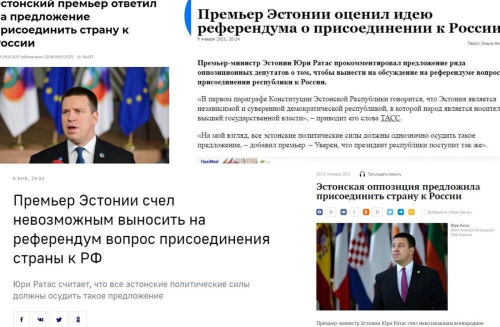 Reformierakondlaste ettepanek Venemaa koosseisu kuulumise kohta jõudis Vene meediasse