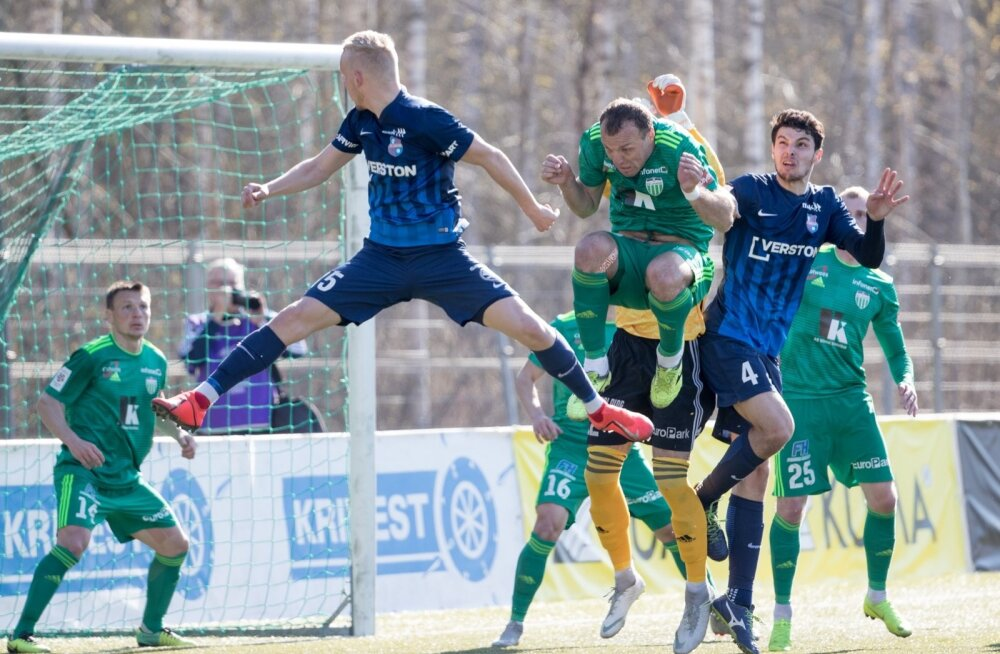 Paide Linnameeskonna mängumehed Sander Sinilaid (nr 15) ning Mikel Gurrutxaga (nr 4) on hooaega alustanud korraliku hooga. Ühe suure tiitlisoosiku FCI Levadia peale hammas pühapäeval veel ei hakanud.
