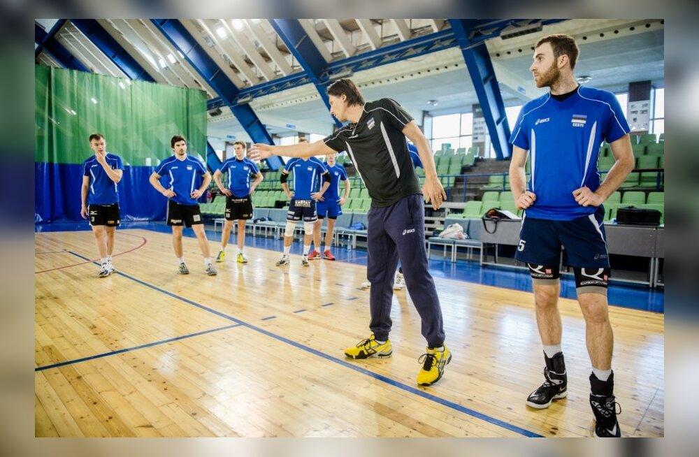 Eesti võrkpallikoondise esimene ühistreening uue peatreeneri Gheorghe Cretuga