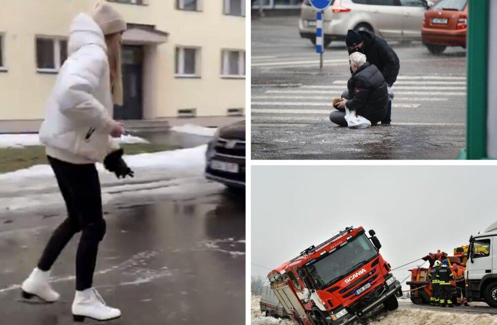 Teeolud on libedad üle Eesti, kuid Tallinnas on eriti täbaras seisus jalakäijad