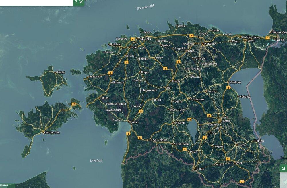 Uuel kohanimeregistri kaardil näeb ka mägede ja bussipeatuste nimesid