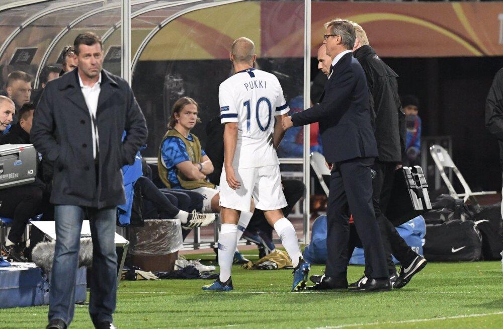 Tallinnas säranud Teemu Pukki sai mängus Kreeka vastu varakult vigastada