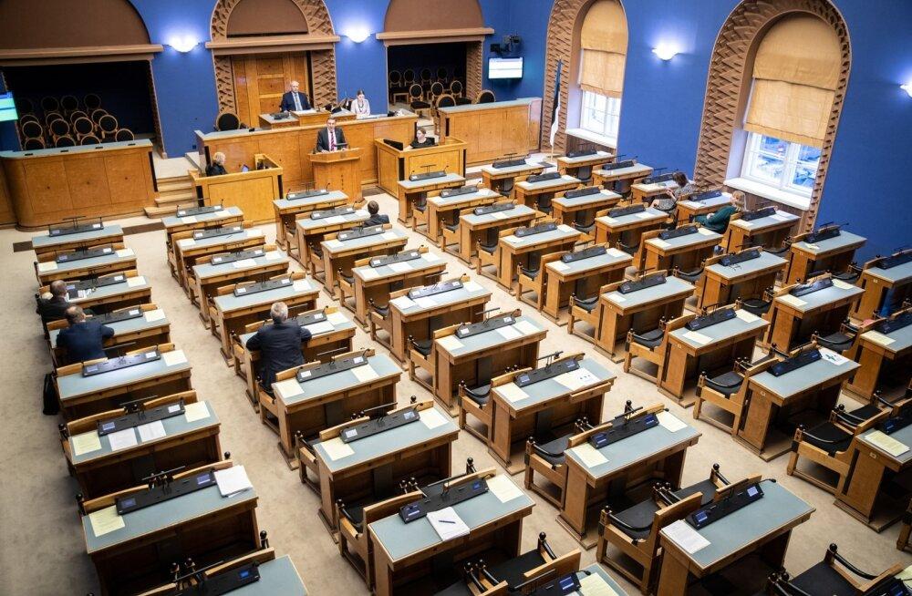 Pensioni tuleviku arutelu riigikogus. Saal on tühi