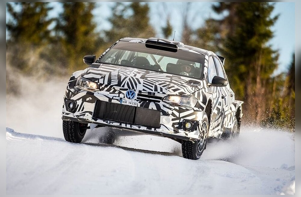 Petter Solberg kihutamas Rootsis Volkswagen Polo R5 autoga.