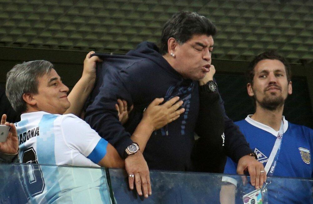 Diego Maradona Argentina ja Nigeeria kohtumisel.