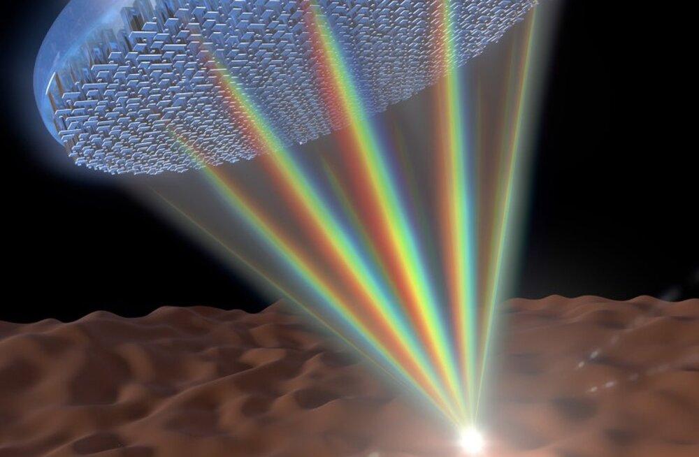 Teadlased lõid õhukese metaläätse, mis koondab kogu valguse värvispektri ühte kohta